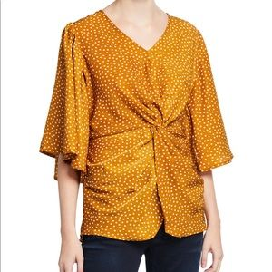 NWT Lumie Polka Dot Twisted-Front Top